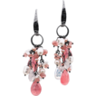 Freshwater Pearls, Moonstone and Rhodocrosite Dangle Earrings Sterling
