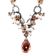 Oregon Sunstone, Pearl and Diamond Sterling Silver Necklace