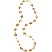 Freshwater Pearl, 18K and 14K Gold Chain Necklace