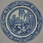 "Staffordshire Blue and White Transfer Plate ""Partly Covered Bridge"" c 1810"