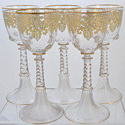 Set of 5 Antique Bohemian Enameled & Gilt Art Glass Goblets c 1900