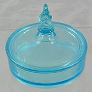 Tiffin Glass Milady 331 Sky Blue Powder Box