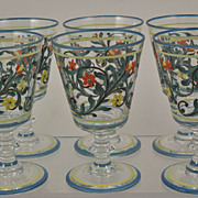 6 Hand Painted Flower Scroll Water Goblets Glasses