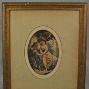 Antique Oval Watercolor of Courting Couple Signed Hemmelmann 1859