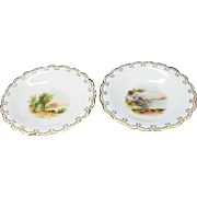 Pair of 19th Century Handpainted English Comports