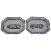 "Pair of J.Holland ""Carrara"" Blue Transfer Bowls 1852"