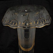 Roll Top Gilt and Frosted Glass Trumpet Vase circa 1910
