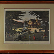 "Original Haskell & Allen Framed HC Lithograph ""Summer Scene in the Country"" 1875"