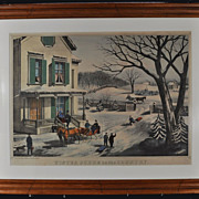 "Original Thomas Kelly Framed HC Lithograph ""Winter Scene in the Country"" 1870"