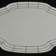 "TK Thuny Czechoslovaki White and Black Modern Deco 19"" Porcelain Tray"