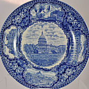 Blue Transfer Souvenir Plate of the US Capitol at Washington,D.C.