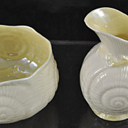 Irish Belleek Toy Shell Yellow Creamer&Sugar Green Mark