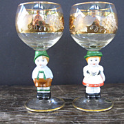 Pair of German Figural Stemware Glasses