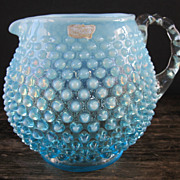 SALE Fenton Small Aqua Opalescent Hobnail Pitcher
