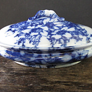 SALE Nice Ironstone Flow Blue Covered Dish
