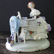 Dresden Lace Piano Player Lady with Floral Dress