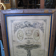 Framed 1875 Marriage Certificate
