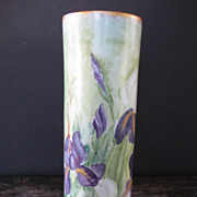 Striking Hand Painted Purple Iris Tall Vase