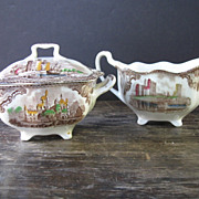 Johnson Bros. Old Britain Castles Cream and Sugar Set