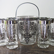 Great Vintage Silver Plate Rimmed Ice Bucket with Six Glasses