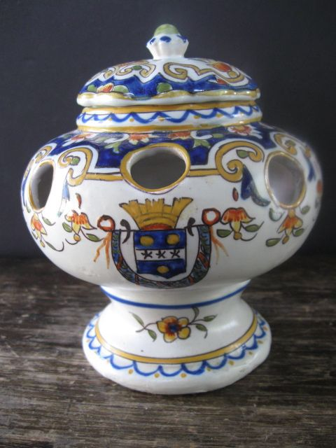 Faience Bouquetiere with Lid
