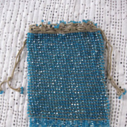 Blue Glass Beaded Flapper Bag