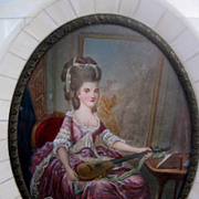 Framed Miniature of a Woman with Mandolin