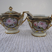 Beautiful Noritake Gilded Floral Cream and Sugar