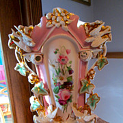 Old Paris Porcelain Fan Flair Vase