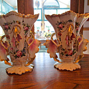 Pair of Old Paris Porcelain Fan Flair Vases