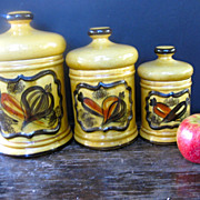 Los Angeles Pottery 3 pc Golden Vegetable Canister Set