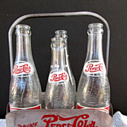 Vintage Pepsi Carrier with 4 Vintage Bottles