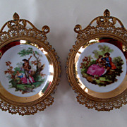Pair of Miniature Brass Filigree Framed Porcelain Plates