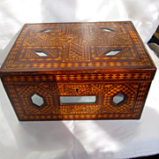 Vintage Mirror and Parquetry Inlaid Wood Locking Storage Box