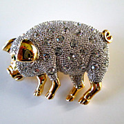Adorable Crystal Studded Pig Pin