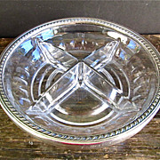 Weidlich Sterling Spoon Co. Sterling Silver Rim Crystal Divided Bowl