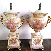 Pair of Beckwith Floral Porcelain Urns