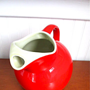 Great Vintage Hall Bright Red Ball Pitcher