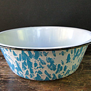 Blue Swirl Graniteware Wash Pan
