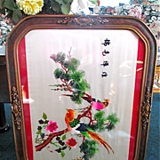 Oriental Framed Embroidered Silk