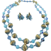 Gorgeous Signed Vendome Sky Blue Crystal And Golden textured Metal Bead Demi Parure