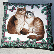 Pair Fabric Cat Pillows, Velvet Backing