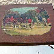 Vintage Walnut Hunt Scene Folding Card Table