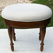 Vintage Carved Oak Upholstered Stool