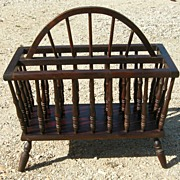Vintage Turned Walnut Windsor Magazine Rack