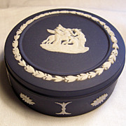 Wedgwood Royal Blue Jasperware Covered Box