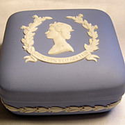 Wedgwood Blue Jasperware Queen Elizabeth Coronation Box
