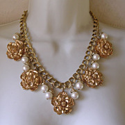 Sharra Pagano Imitation Pearl Pendant Drop Necklace