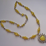 Art Deco Gold Filled Yellow Silk Glass & Rhinestone Heart Pendant Necklace