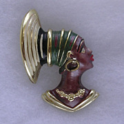 Vintage Signed Enamel Blackamoor Pin Brooch